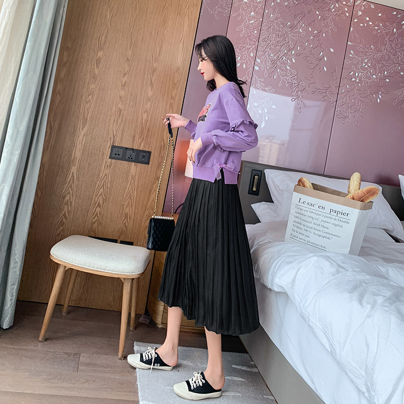 Fashion WOMEN'S Suit Autumn 2019 New Style Lettered Printed Hoodie Frilled Black And White With Pattern Skirt A Generation Of Fa