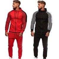 Zipper Tracksuit Men Set Sporting 2 Pieces Sweatsuit Men Coat Clothes Patchwork Hooded Hoodies Jacket Pants Track Suits Male