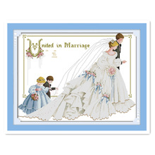 11CT 14CT embroidery cross stitch kit handmade DIY two flower girl sweet wedding groom bride married family decoration