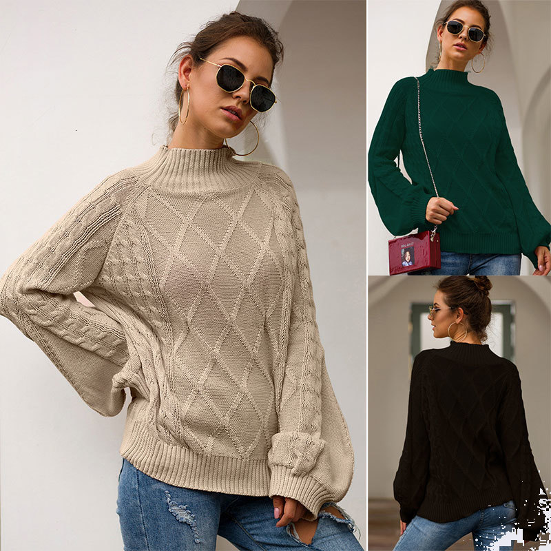 Lantern Sleeve Loose Women's Sweaters Loose High Street Fashion Women's Sweaters New Autumn 2019 Women's High-end Sweaters