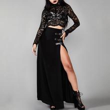 Gothic Long Split Skirt Women Sexy Side Slit High Waist Straight Skirts