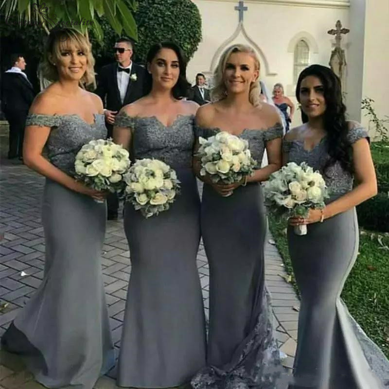 Dark Gray Mermaid   Bridesmaid     Dresses   Long Lace Appliques Off Shoulder Maid Of Honor   Dress   Prom   Dresses   Wedding Guest Gowns Cheap