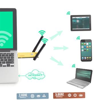 USB 3 0 1200 mb s daleki zasięg AC1200 dwuzakresowy 5GHz bezprzewodowy Adapter WiFi anteny obsługiwane IEEE 802 11 n ac tanie i dobre opinie Skatolly CN (pochodzenie) Other NONE Dostępny w magazynie WiFi Adapter