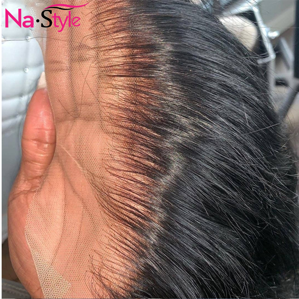 Glueless Full Lace Wigs Transparent Pre Plucked Full Lace Human Hair Wigs Straight Braided Lace Front Wigs For Black Women