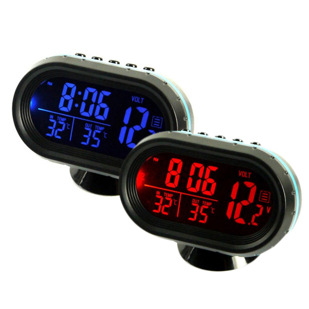 1pc Car Thermometer Clock 2 Button Cells Voltage Meter Monitor Temperature Instruments ABS Plastic Glass 93x68x25mm