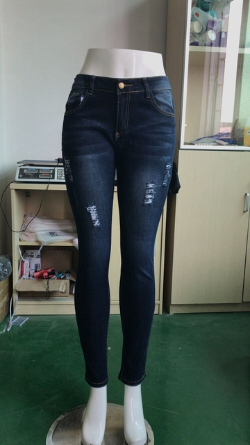 Women Blue Jeans Skinny Hole Ripped