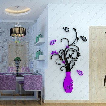 3D Home Decals Decor DIY Fashion 3D Vase Flower Tree Crystal Arcylic Wall Stickers Decal Home Room Indoor Decor Wall Stickers 10