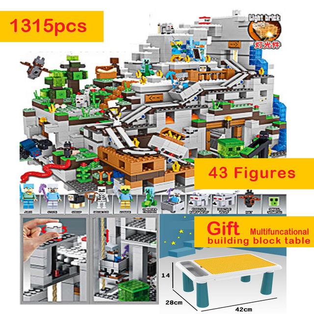 1315 sztuk kompatybilny 21137 mój świat z Multifuncational Building Blocks Table Mountain Cave figurki cegły zabawki dla dzieci Kid tanie i dobre opinie GUDI CN (pochodzenie) Unisex 6 lat Mały budynek blok (kompatybilne z Lego) Certyfikat 7434 Not to be swallowed Z tworzywa sztucznego