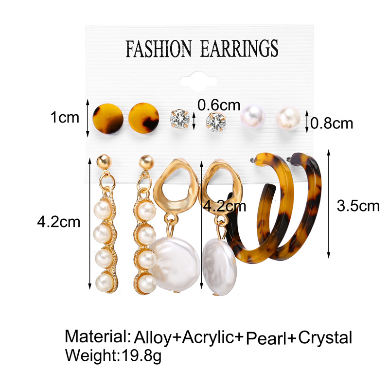 He9c33fbdd589427da707e29f4352d5b9z - IF ME Fashion Vintage Gold Pearl Round Circle Drop Earrings Set For Women Girl Large Acrylic Tortoise shell Dangle Ear Jewelry