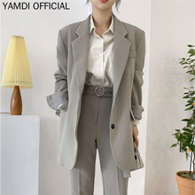 YAMDI Women Blazer Suit Set Female Woman Single-breasted Bla