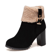 KALENMOS Plus Size 33 46 Women Boots High Heel Autumn Winter Warm Shoes Ladies Casual Buckle Zip Office Boots Women Ankle Boots