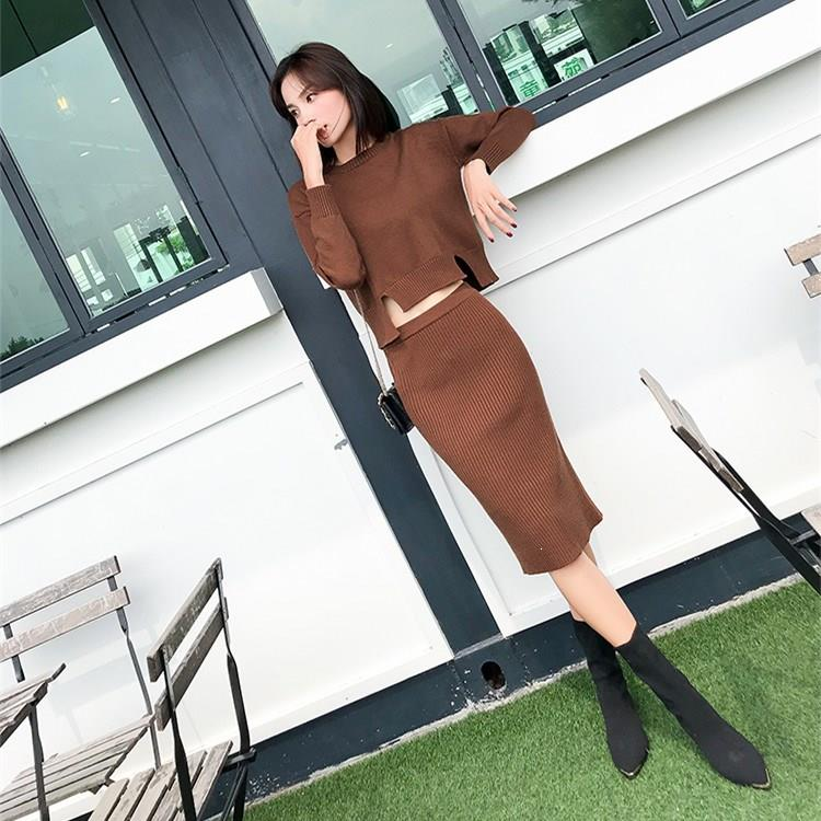 Women Winter Two Piece Set Solid Elegant O Neck Long Sleeve Sweater Midi Skirt Sweater Suits Jumper Knitted Outfits