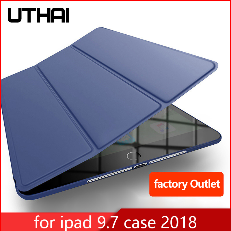 "UTHAI E003S Ultra-thin Magnetic Case for iPad 6 9.7"" 2018 Smart PU Leather Funda Cover Auto Sleep/Wake 6th generation Case"
