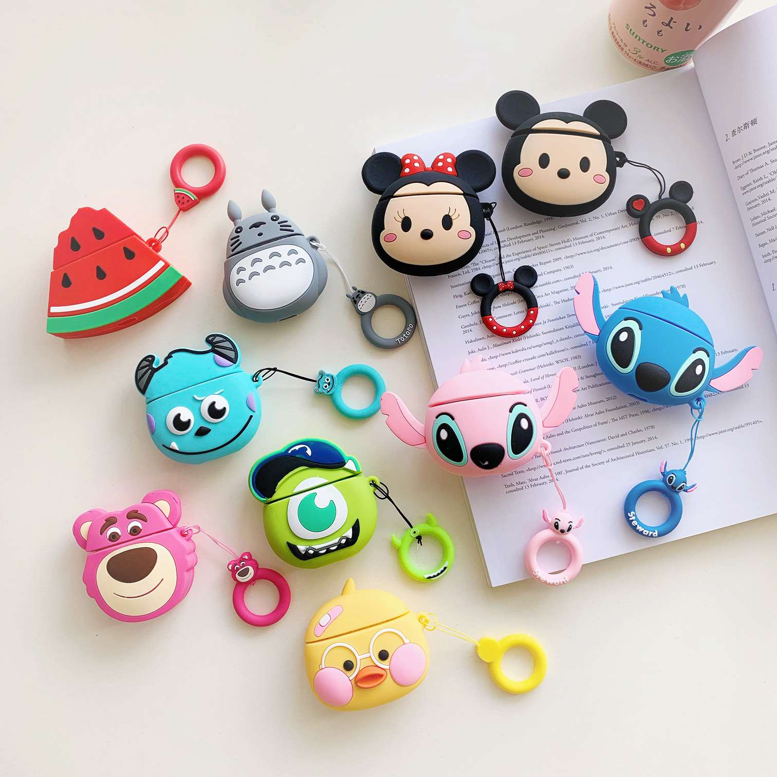 For AirPods Case Cute Owl Cartoon Bear Silicon Wireless Earphone Cases With Ring Strap Cover For Apple Air Pods 2 Case Fundas