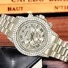 Часы мужские полностью из 18-каратного золота, роскошные Брендовые мужские часы с бриллиантами, роскошные мужские кварцевые часы с ремешком, 2020 6