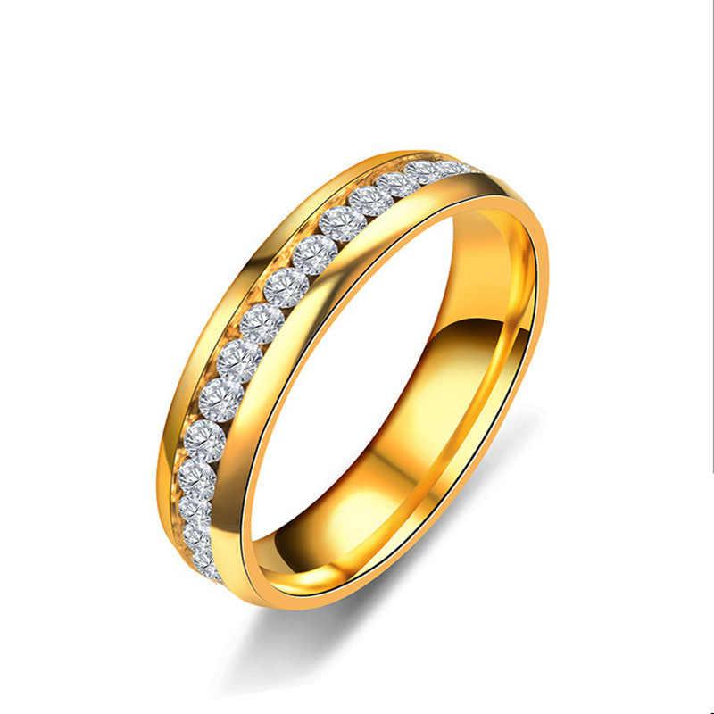 النساء و الرجال الأزياء صف واحد كريستال الفولاذ المقاوم للصدأ حلقة خمر الفضة الذهب الأسود البنصر الزركون خاتم زوجين خاتم