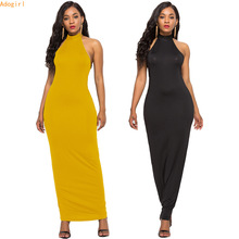 Adogirl Yellow Women Summer Halter Dress Sexy Long Maxi Backless Elegant Slim Solid Home Casual Off Shoulder Outfits