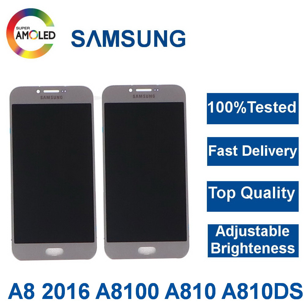Super AMOLED LCDs For Samsung Galaxy A8 2016 A8100 A810 LCD Phone LCD Display Touch Screen Digitizer Assembly adjust brightness image