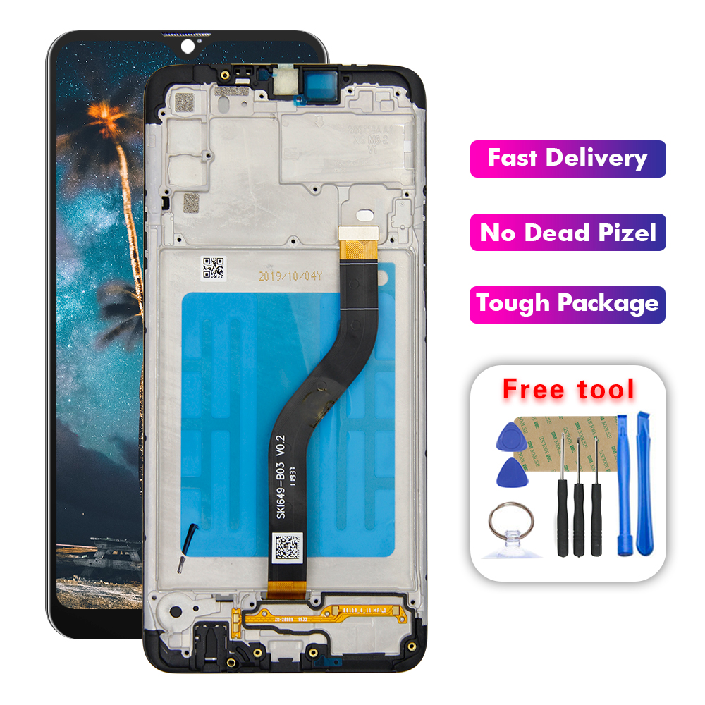 For Samsung A20s SM-A207 A207F/DS A207GN/DS A207M/DS A207U LCD Dispaly Touch Screen Assembly +Frame