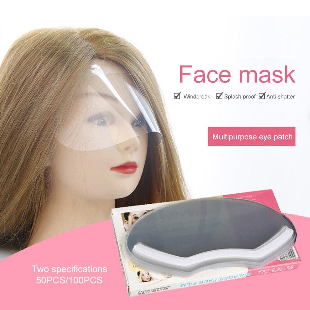 50Pcs Disposable Face Hairspray Shield Mask Hair Salon Face Protection Mask Barber Hair Cutting Eye Protector Cover Bang Hair
