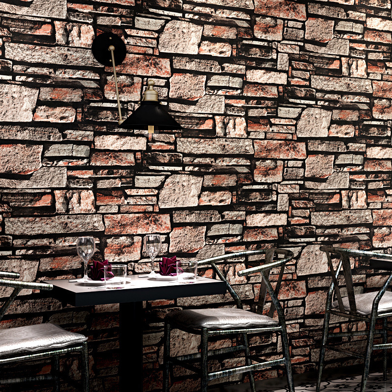 3D Vintage Art Stone Grain Stone, Brick And Brick Pattern Wallpaper Restaurant Coffee Shop Background Wallpaper