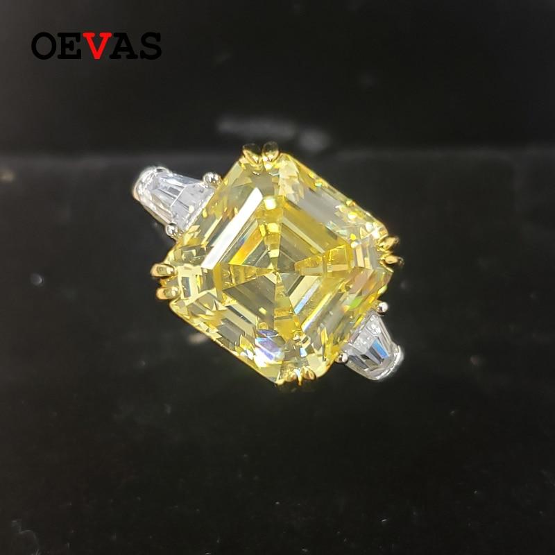 OEVAS 100% Серебро 925 пробы сверкающие 12*12 мм Аквамарин Топаз высокоуглеродистые бриллиантовые обручальные кольца для женщин для вечеривечерни...