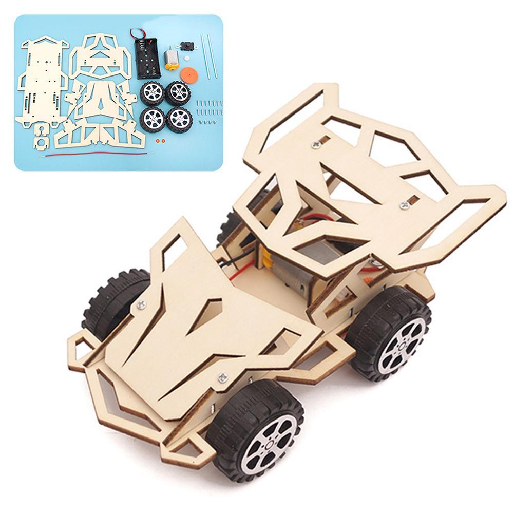 DIY Assembly Racing Car Vehicle Model Kit Physical Science Experiment Technology Educational Wooden Toys For Children Kids Craft