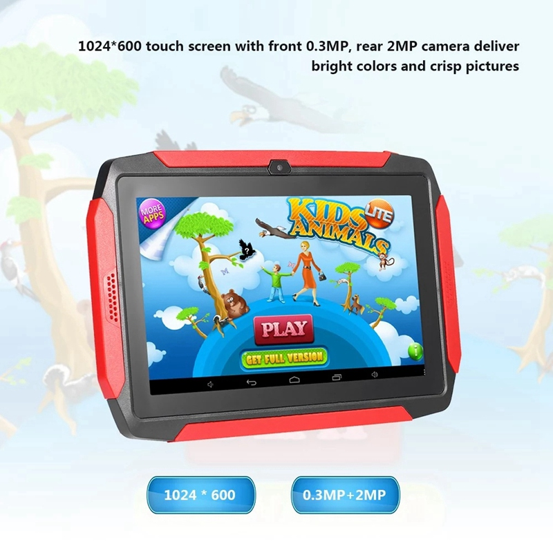 7 Inch Kids Tablet Android 4.4 OS Learning Tablet 1024X600 Resolution 512MB+8GB Storage WiFi/BT Connection(EU Plug)