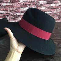 M Fedorasstandard black wine red ribbon cloth hat Sir Sagging eaves abnormity cap temperament of men and wom