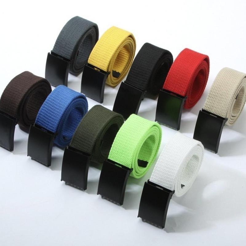 Fashion Luxury Belt Canvas Belt For Men Women Belts Strap Couple Thin Waistband Iron Metal Square Automatic Black Buckle
