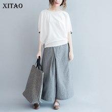 XITAO Nouvel Été Corée Mode Grande Taille Rayé Mosaïque Manches Courtes O-cou Pull Régulier Pullover Décontracté T-shirts MM003