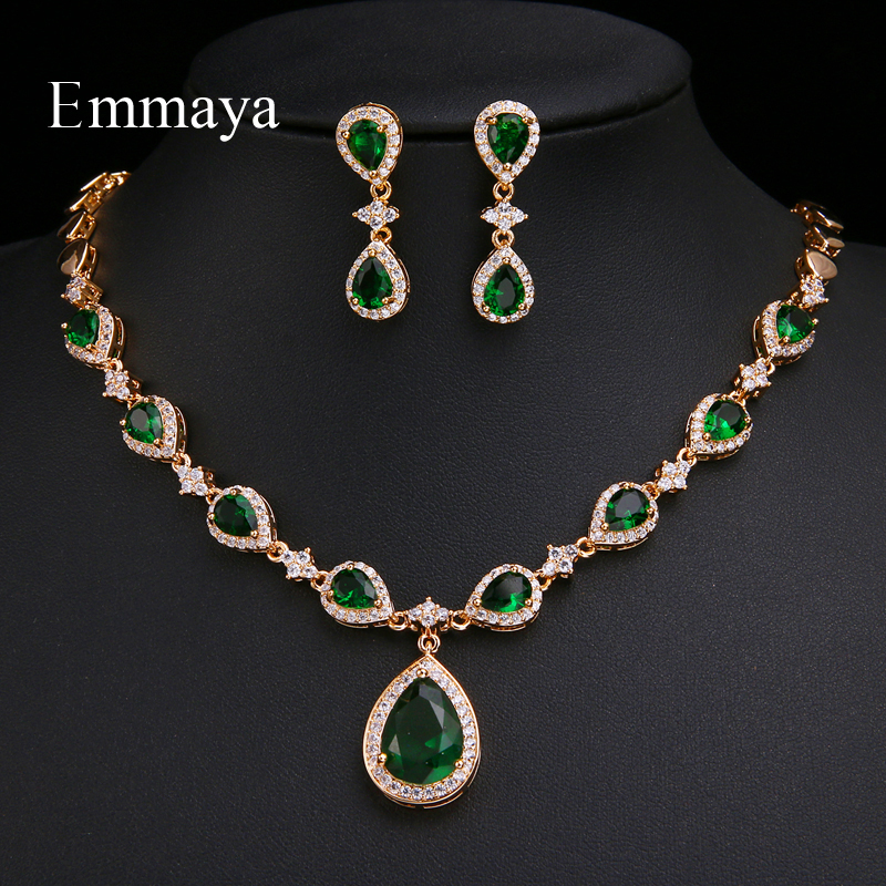 Emmaya New Arrival Rose Gold Green Waterdrop Appearance Zirconia Charming Costume Accessories Earrings And Necklace Jewelry SetsBridal Jewelry Sets   -