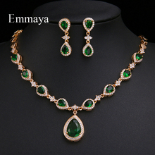 Emmaya ensemble de bijoux boucles doreilles et collier, aspect goutte deau, en zircone, vert Rose, collection nouveauté