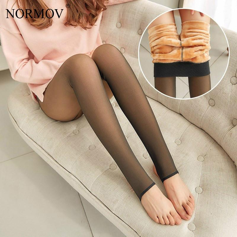 NORMOV Women Sexy Warm Leggings Thick Velvet Mesh High Waist Slim Leggins For Female Autumn Winter Clothes Workout Leggings