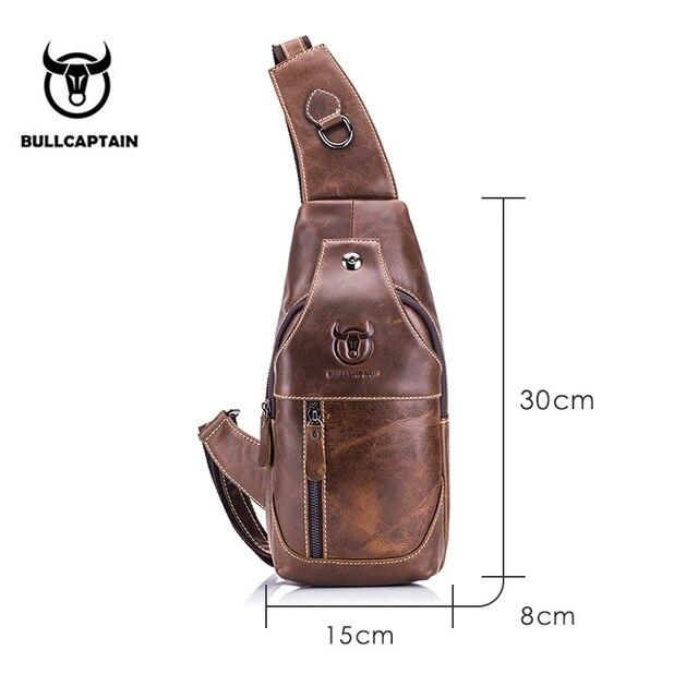 BULLCAPTAIN Fashion Genuine Leather Crossbody Bags men casual messenger bag Small Brand Designer Male Shoulder Bag Chest Pack 1