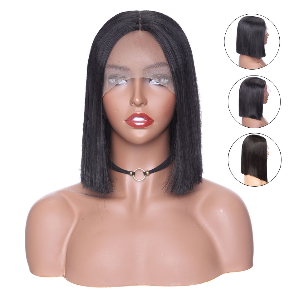 S-noilite 10/12/14inch BOB Lace Front Wig Non-free Lace Front Short Straight Bob Wig Natural Black Syntheitc Women Wig For Black