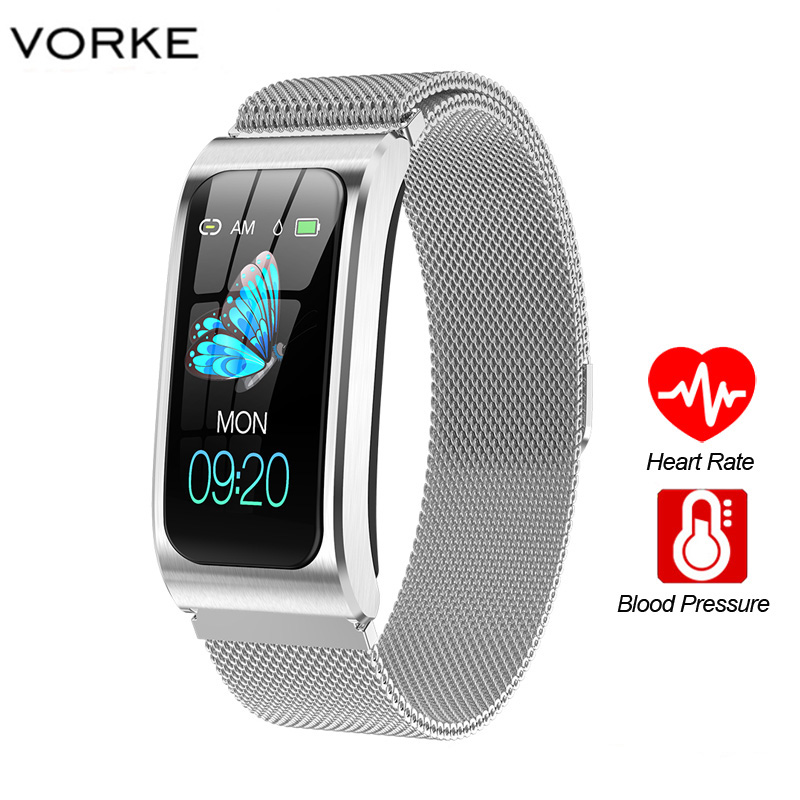 Reloj inteligente Vorke VK7 con pantalla táctil de 1,14 pulgadas, IP68, monitor de ejercicio, medición de la presión arterial, banda inteligente para Android e IOS Relojes de pulsera para mujer, marca de lujo, reloj de pulsera de acero plateado para mujer, reloj de pulsera de diamantes de imitación para mujer, reloj femenino, reloj femenino