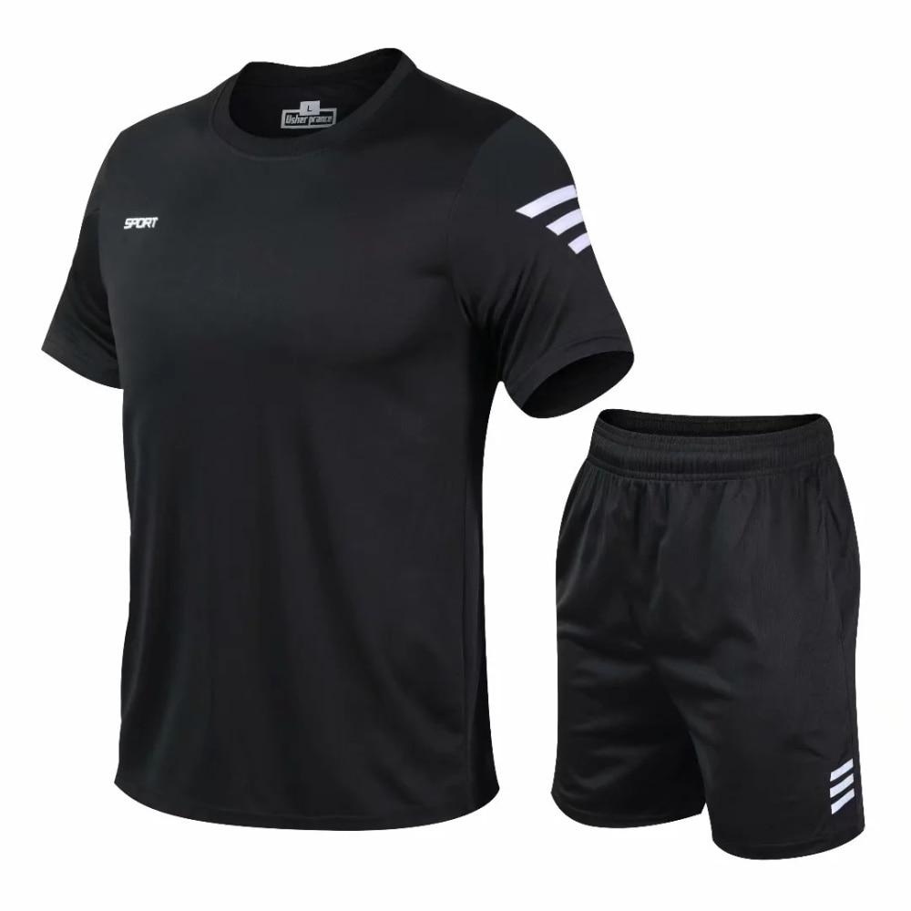 Men Sportswear 2020 Men Clothing Sportswear Set Fitness Summer Print Men Shorts + T shirt Men's Suit 2 Pieces Sets