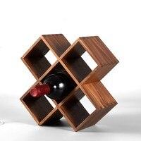 Black walnut solid wood wine shelf Japan style home creative wooden storage wine display rack decoration