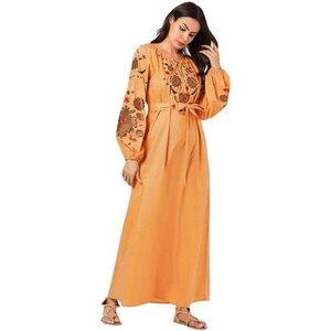 Турецкое мусульманское платье абайя, женское платье с цветочной вышивкой, на шнуровке, макси платья Хиджаб, мусульманское кимоно, марокканс...