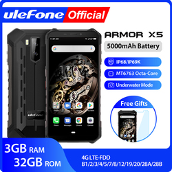 Ulefone armor x5 mt6763 octa núcleo ip68 impermeável áspero smartphone android 9.0 telefone celular 3 gb 32 gb nfc 4g lte telefone móvel