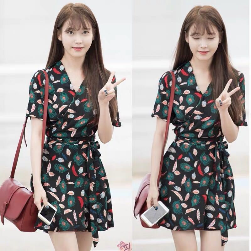 Very Fairy Of France Non-mainstream Dress IU Celebrity Style Waist Hugging Slimming French Retro Chiffon Printed GIRL'S Short Sk