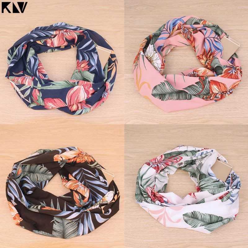 KLV Women Boho Retro Floral Print Infinity Neck Scarf With Invisible Zipper Pocket Vintage Spring Autumn Versatile Ring Wrap