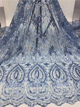 5yards african net tulle lace fabric with beads and sequins beautiful french lace for wedding or party dress nice look   DPAU252