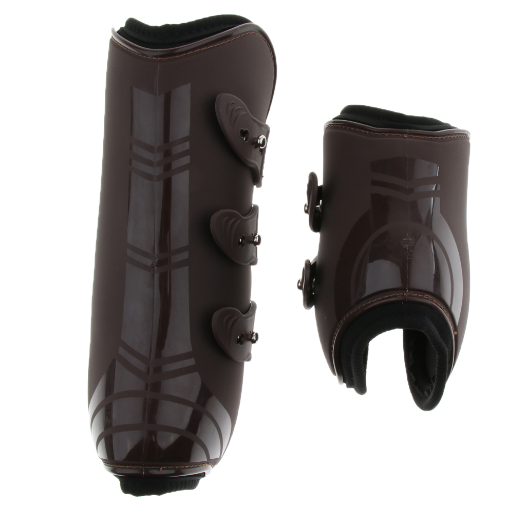 2 Set Horse Pony Leg Boots, Equestrian Front Hind Legs Tendon And Fetlock Protector - PU Shell And Neoprene Linning
