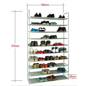 Simple Assembly 10 Tiers Non-woven Fabric Shoe Racks Organizers Shoes Storage Shelf For Home Door