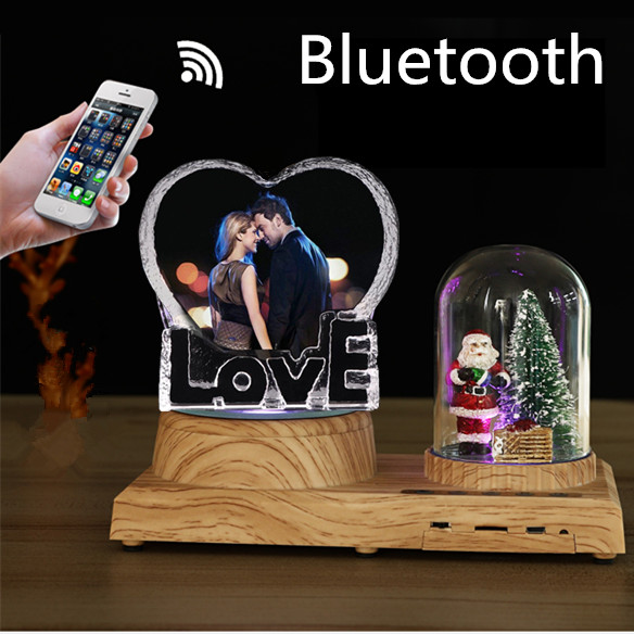 Creative Customized Photo Text Bluetooth LED Display Wooden LOVE Crystal Rotating Base MP3 Speaker Christmas Wedding Girl Gift