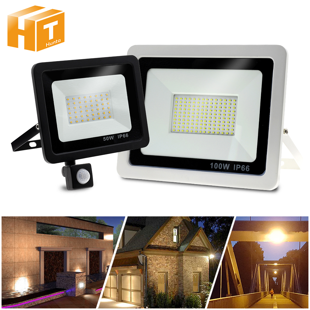 220V LED FloodLight PIR Motion Sensor Reflector LED Flood Light Waterproof IP66 Spotlight Wall Outdoor Lighting White Warm White