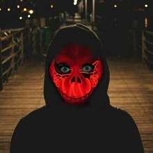 LED Light Up Mask Halloween Decorative Pumpkin Skull Masks Glow Party Favors Supplies Battery Not Included