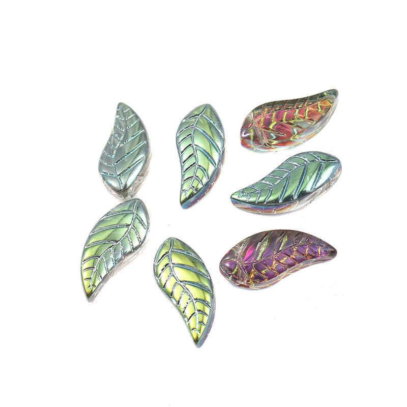 50 PCs ใหม่ลูกปัดแก้ว Leaf Multicolor AB Rainbow ลูกปัดสำหรับ DIY สร้อยข้อมือแฟชั่นสร้อยคอเครื่องประดับ Making16mm x 8 มม.,รู: 0.9 มม.